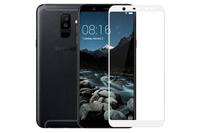 Защитное стекло Samsung Galaxy A6 Plus (2018) на дисплей, с рамкой, белый