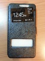 Чехол-книжка на Samsung Galaxy Alpha (G850F) полиуретан, S-view, черный
