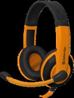 Гарнитура проводная, 3,5мм, игровая, Defender Warhead HN-G120, полноразмерная, 2.1м., оранжевый