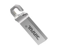 Память USB 2.0 Flash, 64GB, BiNFUL, карабин, серебристый