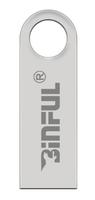 Память USB 2.0 Flash, 32GB, BiNFUL, металл, style 3, серебристый