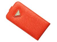 Флип-кейс на Apple iPhone 4/4S, полиуретан, Prada, оранжевый