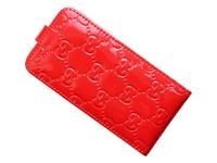 Флип-кейс на Apple iPhone 5/5S, кожа, Gucci, красный