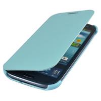Чехол-книжка на Samsung S3 кожа, голубой