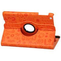 Чехол Smart-cover для Apple iPad mini 1,2,3, кожа, вращающийся, вырез.узор, оранжевый