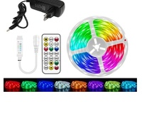 Комплект светодиодная лента 5050, б/вл IP20, 12в, 14,4Вт.м, 30д.м. 5м, RGB, IR контроллер, блок пита