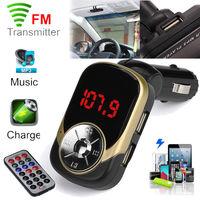 FM-модулятор, Noname, microSD, 2xUSB, axu, 4кн, пульт, золотистый
