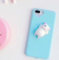 Чехол-накладка на Apple iPhone 7/8 Plus, силикон, 3D, игрушка кот, голубой