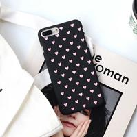 Чехол-накладка на Apple iPhone X/Xs, пластик, сердечки, черный