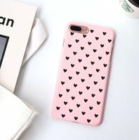 Чехол-накладка на Apple iPhone 7/8/SE2, пластик, сердечки, розовый