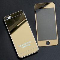 Цветное защитное стекло для Apple iPhone 5/5S/SE комплект, золотистый