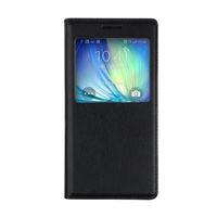 Чехол-книжка на Samsung A3 кожа, S-view, черный