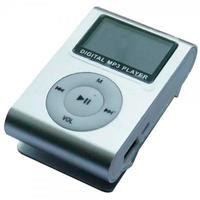 MP3-плеер с дисплеем, клипса, microSD, серебристый
