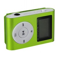 MP3-плеер с дисплеем, клипса, microSD, зеленый