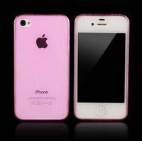 Чехол-накладка на Apple iPhone 4/4S, силикон, ультратонкий, прозрачный, розовый
