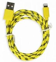 Кабель для iPhone 8pin, Smartbuy iK-512n, тканевый переплет, желтый, 1м