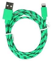Кабель для iPhone 8pin, Smartbuy iK-512n, тканевый переплет, зеленый, 1м