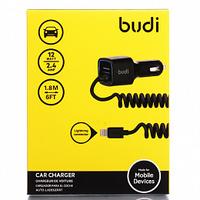 Автомобильное зарядное устройство USB, Budi M8J066L, 2.4A, 1xUSB, + кабель lightning, черный