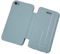 Чехол-книжка на Apple iPhone 4/4S, полиуретан, AG, голубой