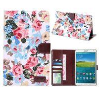 Чехол Smart-cover для Samsung Galaxy Tab S 8.4, полиуретан, текстиль, цветы