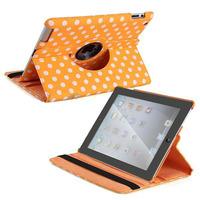 Чехол Smart-cover для Apple iPad 2/3/4, кожа, оранжевый в горошек