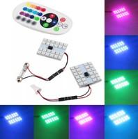 Лампы LED, T10, C5W, RGB, управление с ПДУ, 24 диода, 2 шт.