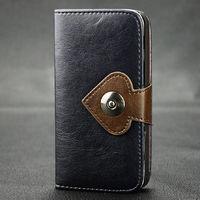 Чехол-книжка на Apple iPhone 5/5S, кожа, магнитный, покер, черный