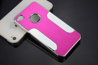 Чехол-накладка на Apple iPhone 4/4S, пластик, алюминий, розовый