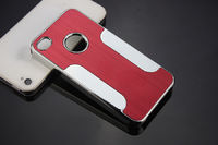 Чехол-накладка на Apple iPhone 4/4S, пластик, алюминий, красный