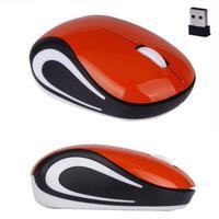 Мышь беспроводная, Noname, оптическая, 3кн, мини, глянцевая, оранжевый