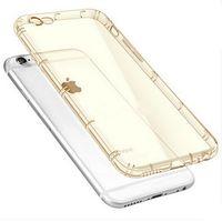 Чехол-накладка на Apple iPhone 6/6S Plus, силикон, глянцевый, прозрачный, золотистый
