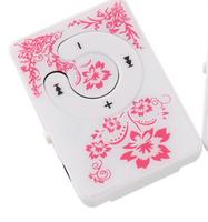 MP3-плеер, клипса, пластик, microSD, узор, розовый