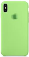 Чехол-накладка на Apple iPhone X/Xs, силикон, original design, микрофибра, с лого, светло-зеленый