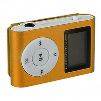 MP3-плеер с дисплеем, клипса, microSD, оранжевый