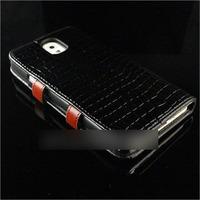 Чехол-книжка на Samsung Note 3 кожа, лак, черный
