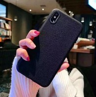 Чехол-накладка на Apple iPhone X/Xs, силикон, под кожу, без выреза, черный
