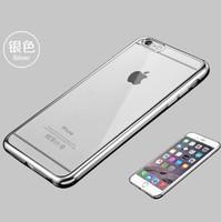 Чехол-накладка на Apple iPhone 6/6S, силикон, под бампер, прозрачный, серебристый