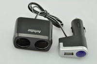Разветвитель автоприкуривателя OLESSON WF-0097, (2 выхода+ USB)