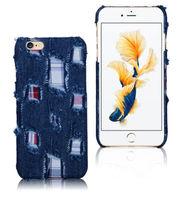 Чехол-накладка на Apple iPhone 6/6S Plus, пластик, ткань, джинс, синий