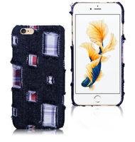 Чехол-накладка на Apple iPhone 6/6S Plus, пластик, ткань, джинс, черный