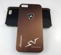 Чехол-накладка на Apple iPhone 5/5S, пластик, алюминий, Lamborghini, коричневый