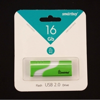 Память USB 2.0 Flash, 16GB, Smart Buy Hatch Green