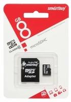 Карта памяти MicroSDHC 8GB Smart Buy, Class 4 (с SD адаптером)