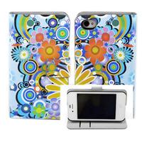Чехол-книжка на Apple iPhone 4/4S, полиуретан, магнитный с язычком, цветы