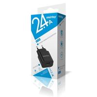 Сетевое зарядное устройство USB, Smart Buy FLASH, 2.4А, 1xUSB, черный (SBP-1025)