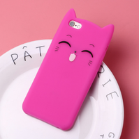 Чехол-накладка на Apple iPhone 6/6S, силикон, 3D, animals cat, розовый