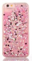 Чехол-накладка на Apple iPhone 7/8, пластик, плавающий гель, сердечки, розовый