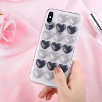 Чехол-накладка на Apple iPhone X/Xs, силикон, 3D, сердца, серебристо-черный