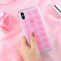 Чехол-накладка на Apple iPhone X/Xs, силикон, 3D, сердца, розовый