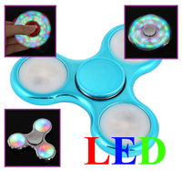 Спиннер, 3 спиц, 1 подш., пластик, светодиодный, 7*7 см, голубой